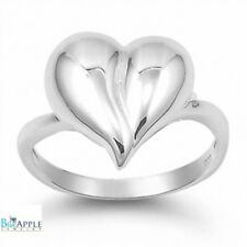 Bulky High Polish Heart Ring Solid 925 Sterling Silver Valentines Love Gift