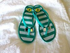 AUTHENTIC COACH 'LANDON' 5M Teal Green Jelly Flip Flop THONG SANDALS NEW