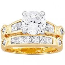 Two-Tone Round and Square CZ Wedding Ring Set, 2-Piece. Brand New