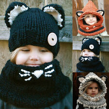 Toddler Kids Baby Winter Warm Hooded Knitted Crochet Hat Girl Boy Beanie Cap