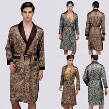 Luxurious Mens Satin Silk Pajamas Kimono Robe Gown Loungewear Bathrobe Sleepwear