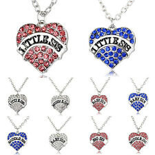 Charm Party Women Crystal Heart Big Little Baby Sister Pendant Necklace Gifts