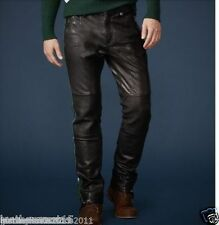 New Men's Designer Tailor Made soft Genuine Lambskin Leather Casual Pant LP025