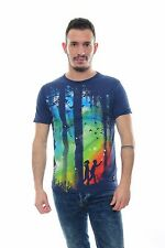Colourful Woods Scene Print Men's 100% Cotton T-Shirt Navy Blue Sizes S to XL