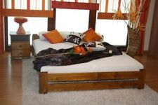 Double Bed Pine Wooden bed frame in Oak colour with Mattress