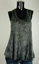 NEW MISS ME SHIRT  S-M-L JMT1096 GREY TANK WITH DESIGN AND STUDS AT FRONT***