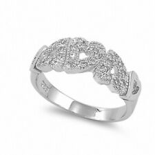 3 Heart Promise Ring Solid 925 Sterling Silver Russian CZ Valentines Love Gift