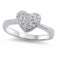 Heart Ring Solid 925 Sterling Silver White Topaz Clear Crystal CZ Love Gift