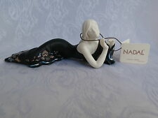 NADAL RARE PORCELAIN FIGURINE LADY IN BLACK DRESS LAYING DOWN LIMITED EDITION