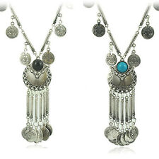 Beauty Vintage Coin Long Pendant Necklace Chain Gypsy Tribal Ethnic Jewelry