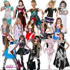 GIRLS ZOMBIE UNDEAD KIDS HALLOWEEN CHILDRENS HORROR FANCY DRESS COSTUME PARTY