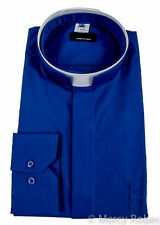 Mens Roman Collar Clergy Shirt (Royal Blue), Tonsure Collar, Long Sleeve, Priest