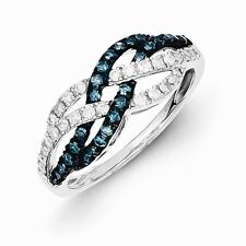 Sterling Silver W/ Rhodium-plated Blue & White Diamond Ring