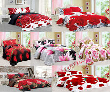 3D Effect Duvet Quilt Cover Bedding Set with FITTED SHEET + Pillow Cases Floral