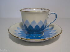 Noritake Art Deco Cup & Saucer Overlapping Blue Leaves with Gilt Trim c1930 HP