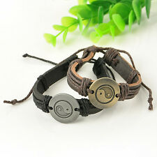 Hot Wrap Leather Yin Yang Infinity Bracelet Men Womens Multilayers Chain Jewelry