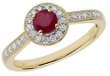 Ruby & 0.25ctw Diamond Cluster Ring Yellow Gold British Made Size J-Q