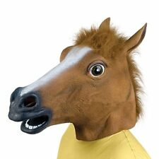 Hot Cosplay Halloween Horse Head Mask Latex Animal ZOO Party Costume Prop DE