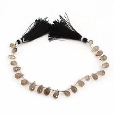 1Strand AAA Quality Smokey Quartz Faceted Tear Drop Briolettes 9x5-11x5mm PB63