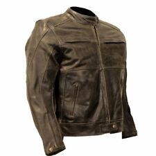 Men's Biker Vintage Leather Motorcycle Jacket , Brown Distressed Leather Biker J