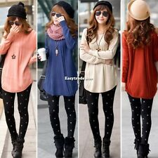 Women Round Neck Long Sleeve Knitted Pullover  Loose Knitwear Top Sweater Jumper