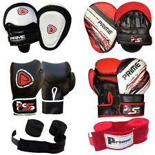 BOXING GLOVES FOCUS PADS HAND WRAPS BANDAGES FIGHT PUNCHING SET 10, 12, 14, 16OZ