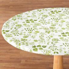 ELASTICIZED Floral Flowers Round Oval Vinyl Table Cover Cloth Flannel Backed