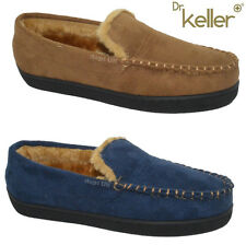 MENS GENUINE LEATHER MOCCASIN SLIPPERS FUR LINED LOAFERS WINTER SHOES SIZE 6-12