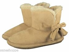 Ladies Booties Slipper Side Bow Warm Lined Fleecy Slippers Size 3 to 8