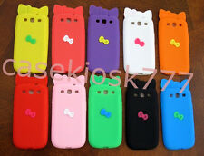 for samsung i9300 galaxy S3  sIII cute kitten 3D bow case pink black purple //