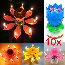 10Pcs Happy Birthday Magical Flowers Blossom Lotus Musical Candle Romantic Party