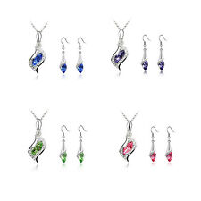 Fashion NEW Austrian Crystal HOT 2016 Earrings Hot Combination 1 Set Necklace