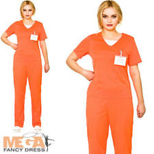 Orange Convict Ladies Fancy Dress Prisoner Uniform Adults Womens Costume Outfit