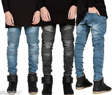 Fashion Mens Casual Designed Straight Slim Fit Biker Jeans Denim Pants Trousers
