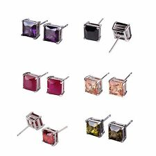 18k white gold filled Champagne Sapphire Luxury engagement stud pierced earring