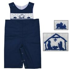 Boys Overalls Navy Blue Smocked Nativity Christmas Boys Babeeni  NWT