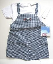 New Boys Spudz Navy Blue White Gingham Shortall Airplane NWT 48 Months 4T Cute