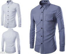 Mens Luxury Classic Casual Formal Collared Shirts Slim Shirts Long Sleeve Shirts