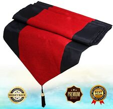 Queen King Size Bed Scarf Decorative Table Runner Red & Black Silk Stripe Tassel