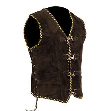 Mens Motorcycle Suede Vest Biker Leather Vest Black Yellow  Braiding XS-8XL