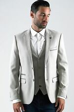 Mens Marc Darcy Designer Stone Cream Blazer Tailored Slim Fit Jacket Size 34-52