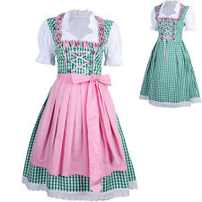 3 PCS Oktoberfest Dirndl Dress Green Ethnic Bavarian Trachten German Oktoberfest