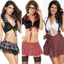 Sexy Student Top & Skirt Adult Women Halloween Costume Br Role Play USA 4+ Style