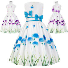 Girls Kids Flower Girl Floral Bow-Knot Belted Wedding Party Casual Prom Dress