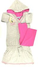 BRATZ Girls 2 PIECE OUTFIT KNIT SET HOODIE TIGHTS GRAY PINK STRETCH DOLL TOP