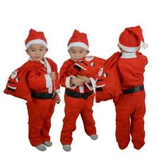 Toddler Kids Boys Children Christmas Santa Claus Costume Dress Outfit Hat Set WS