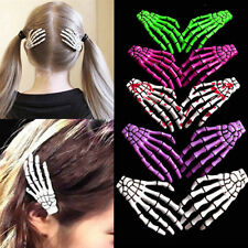 2pcs Special Halloween Zombie Skull Skeleton Hand Bone Claw Hairpins Hair Clips