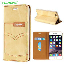 Floveme Jeans Leather Magnet Flip Stand Card Slot Wallet Case For iPhone 6S Plus