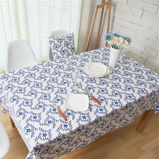 Blue & White Christmas Rectangle Tablecloth Table Cover Table Cloth Home Decor