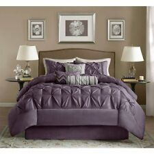 BEAUTIFUL 7PC MODERN PLUM PURPLE TEXTURED COMFORTER SET CAL. KING  QUEEN NEW